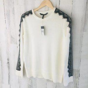 BCBG Max Azria Lace Trim Sweater Cream Black